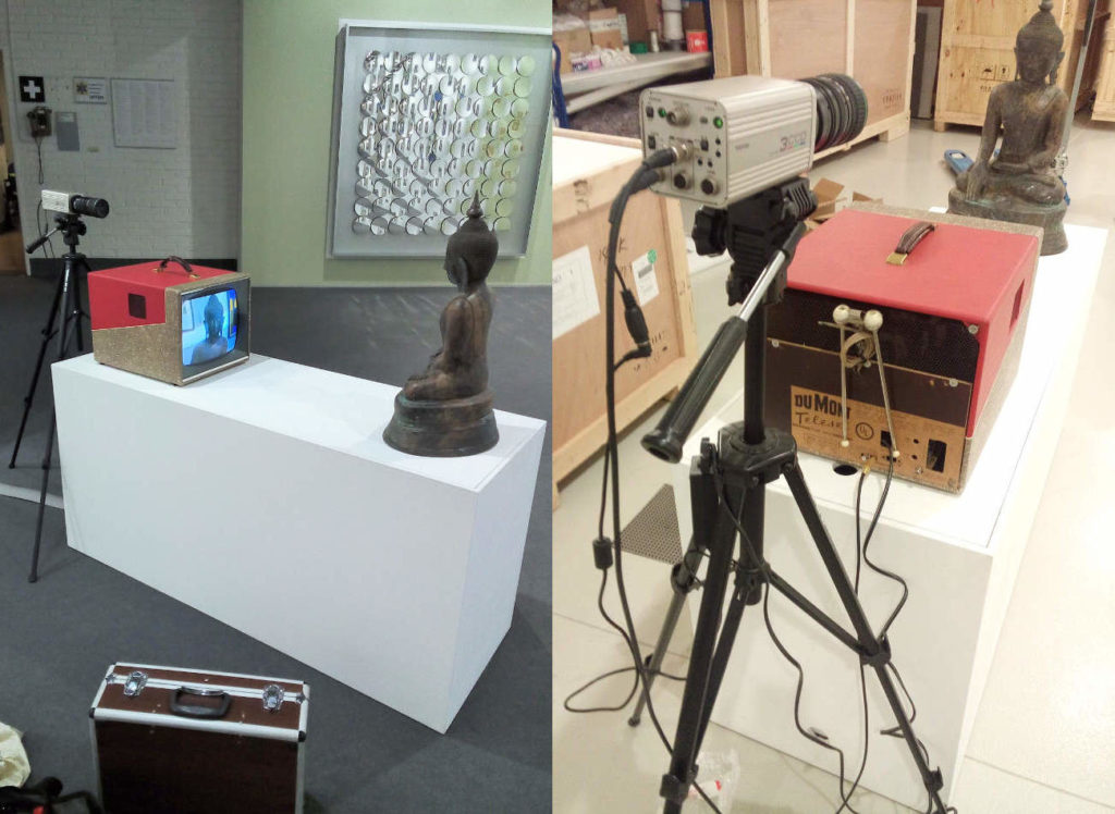 The Work TV-Buddha by Nam June Paik, once with Gallery James Cohan at ART Basel and then as a Test Set-up with the new Owner